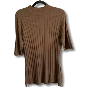 MICHI Brown Ribbed Mock Neck SS Sweater US Sz 16